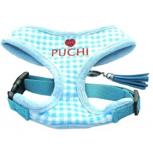 Chequered Chic Softy Harness & Lead in Sky Blue